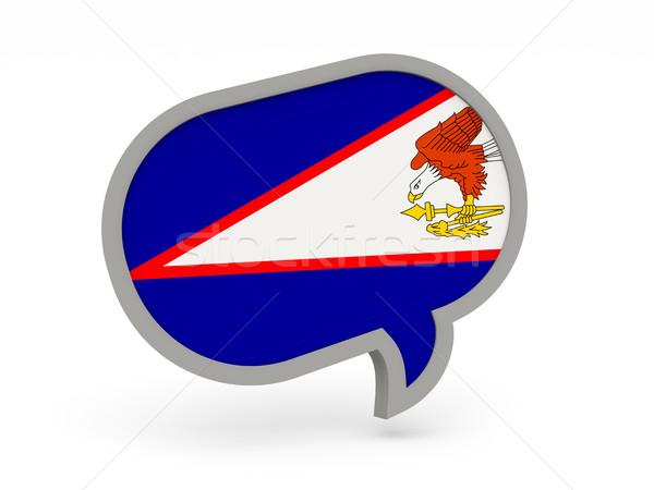 Chat icon vlag Amerikaans Samoa geïsoleerd witte Stockfoto © MikhailMishchenko