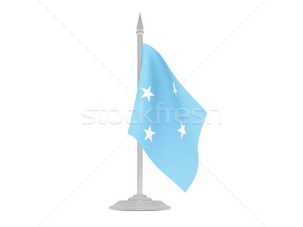 флаг Микронезия флагшток 3d визуализации изолированный белый Сток-фото © MikhailMishchenko
