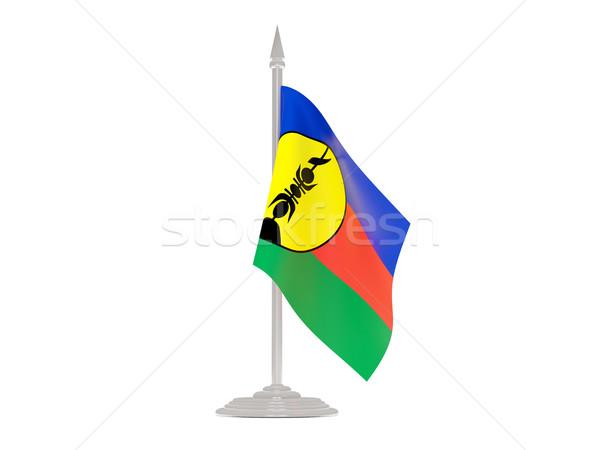 флаг новых флагшток 3d визуализации изолированный белый Сток-фото © MikhailMishchenko