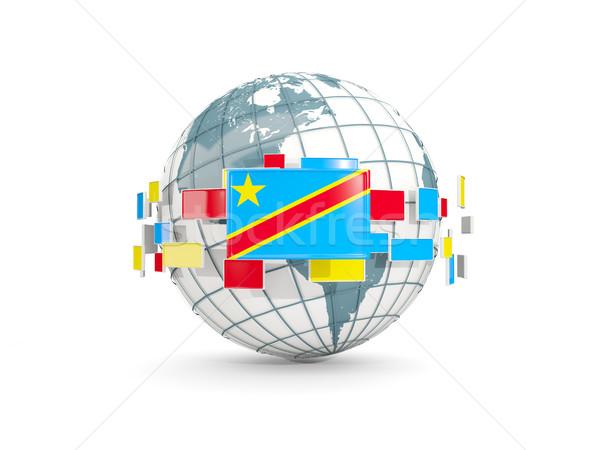 Wereldbol vlag democratisch republiek geïsoleerd witte Stockfoto © MikhailMishchenko