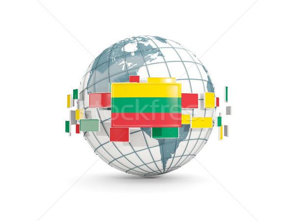 Globe with flag of lithuania isolated on white Stock photo © MikhailMishchenko