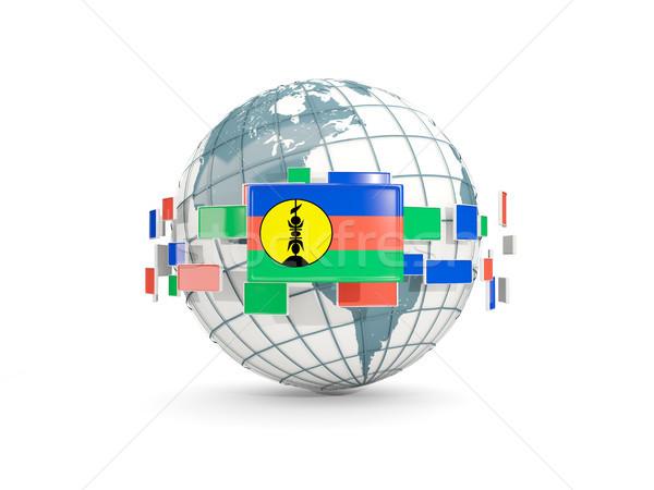 Globe with flag of new caledonia isolated on white Stock photo © MikhailMishchenko