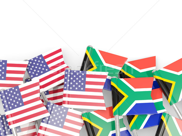 Flag pins of USA and South Africa isolated on white. 3D illustra Stock photo © MikhailMishchenko