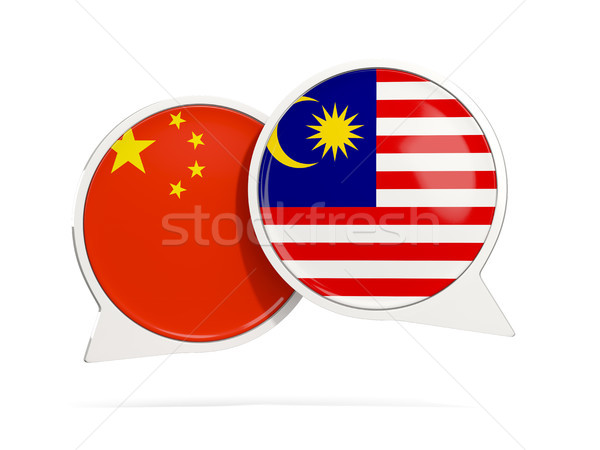 Conversar bubbles China Malásia isolado branco Foto stock © MikhailMishchenko