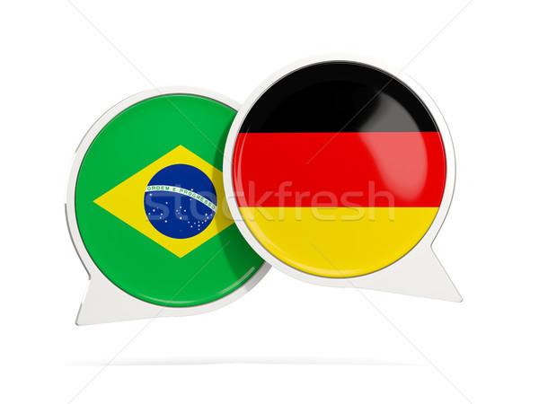 Sohbet kabarcıklar Brezilya Almanya yalıtılmış beyaz Stok fotoğraf © MikhailMishchenko