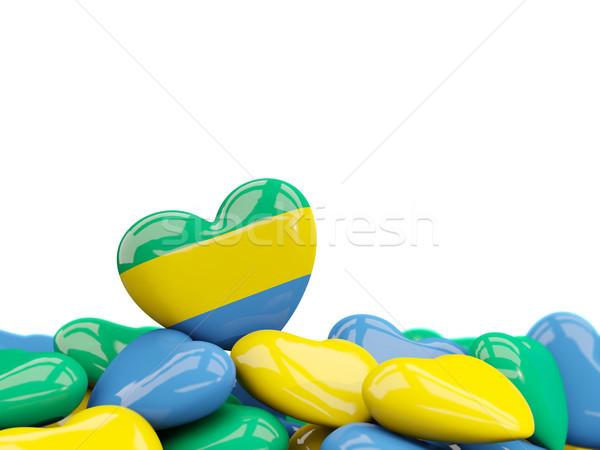 сердце флаг Габон Top сердцах изолированный Сток-фото © MikhailMishchenko