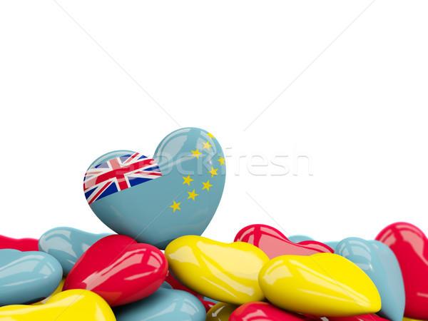Coração bandeira Tuvalu topo corações isolado Foto stock © MikhailMishchenko