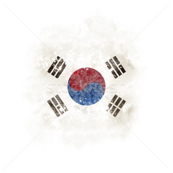Square grunge flag of south korea Stock photo © MikhailMishchenko