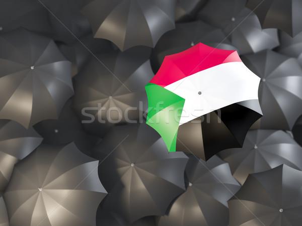 Esernyő zászló Szudán felső fekete esernyők Stock fotó © MikhailMishchenko