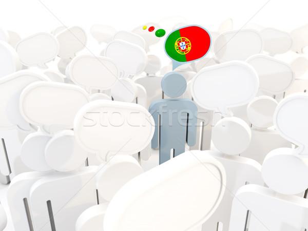 Man vlag Portugal menigte 3d illustration teken Stockfoto © MikhailMishchenko
