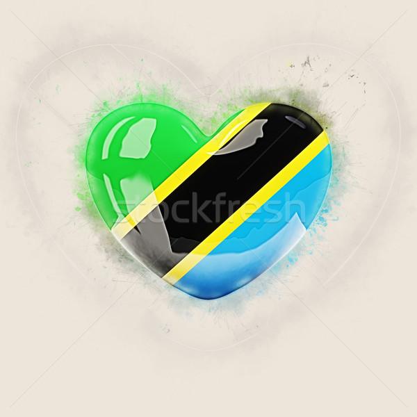 Hart vlag Tanzania grunge 3d illustration reizen Stockfoto © MikhailMishchenko