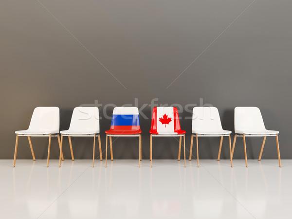 Krzesła banderą Rosja Kanada rząd 3d ilustracji Zdjęcia stock © MikhailMishchenko