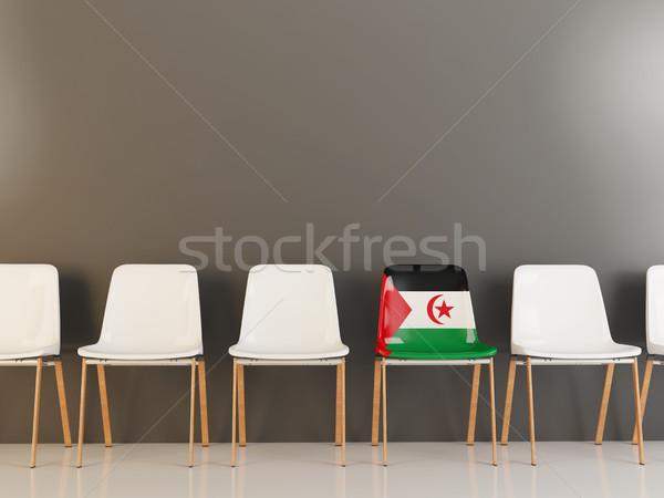 Stoel vlag westerse sahara rij witte Stockfoto © MikhailMishchenko