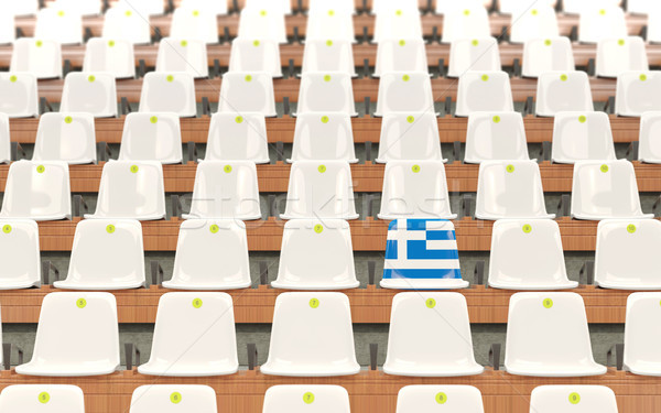 Stadyum koltuk bayrak Yunanistan beyaz Stok fotoğraf © MikhailMishchenko