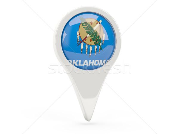 Foto stock: Bandeira · pin · Oklahoma · Estados · Unidos · local · bandeiras