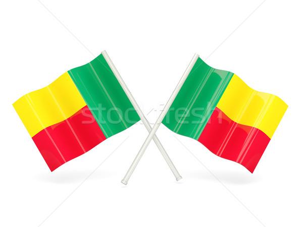 Bandiera Benin due ondulato bandiere isolato Foto d'archivio © MikhailMishchenko