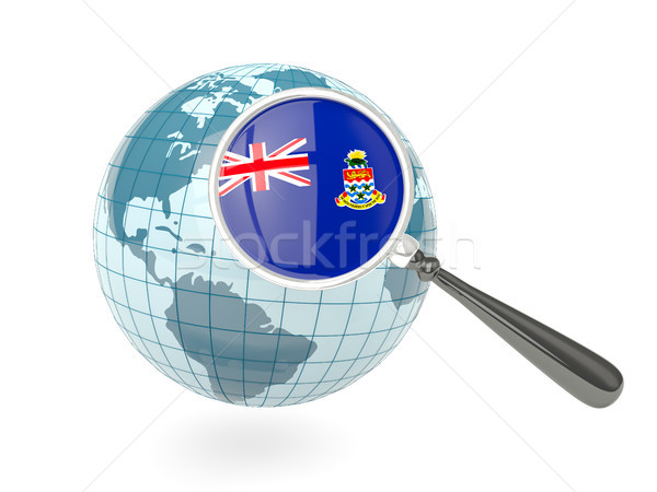 Magnified flag of cayman islands with blue globe Stock photo © MikhailMishchenko