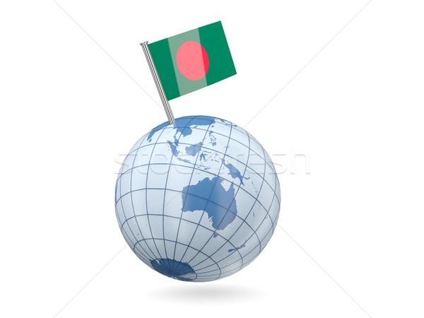 Globo bandeira Bangladesh azul isolado branco Foto stock © MikhailMishchenko