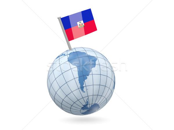 Dünya bayrak Haiti mavi yalıtılmış beyaz Stok fotoğraf © MikhailMishchenko