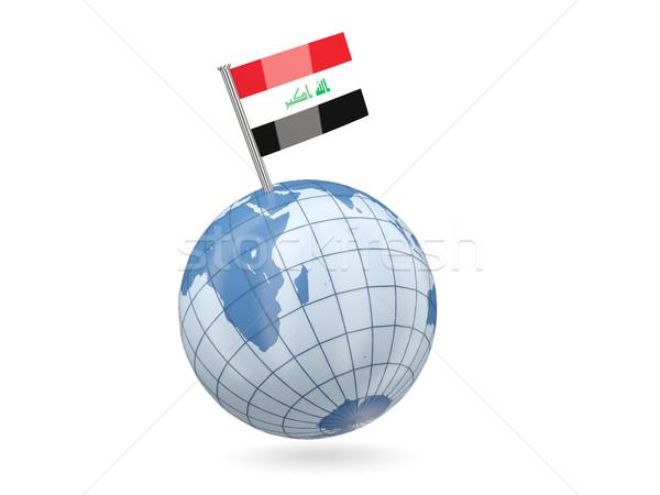 Globo bandeira Iraque azul isolado branco Foto stock © MikhailMishchenko