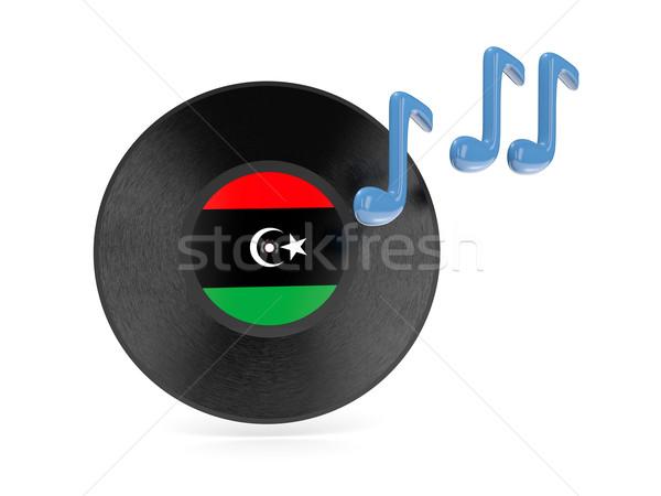 Vinyl schijf vlag Libië geïsoleerd witte Stockfoto © MikhailMishchenko