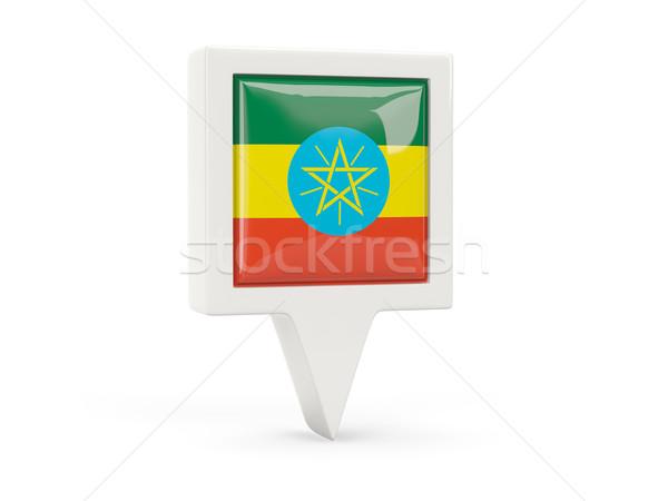 Placu banderą ikona Etiopia odizolowany biały Zdjęcia stock © MikhailMishchenko