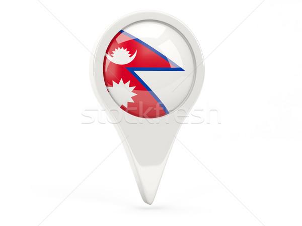 Foto stock: Bandera · icono · Nepal · aislado · blanco · mapa