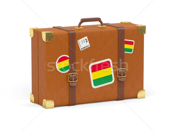 Bőrönd zászló Bolívia utazás izolált fehér Stock fotó © MikhailMishchenko