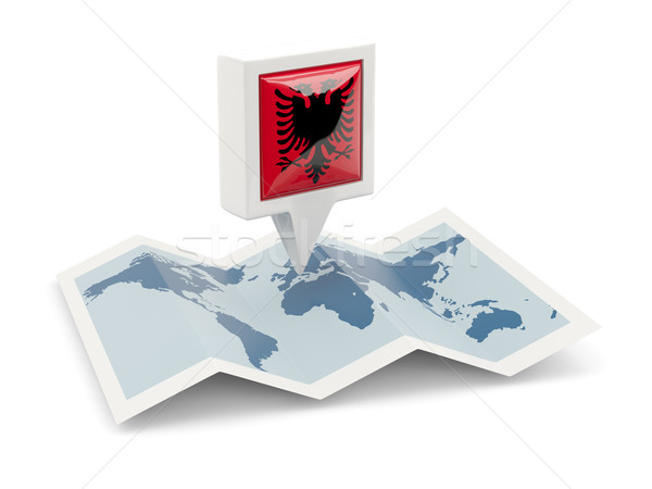 Cuadrados pin bandera Albania mapa viaje Foto stock © MikhailMishchenko