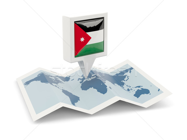 Square pin with flag of jordan on the map Stock photo © MikhailMishchenko