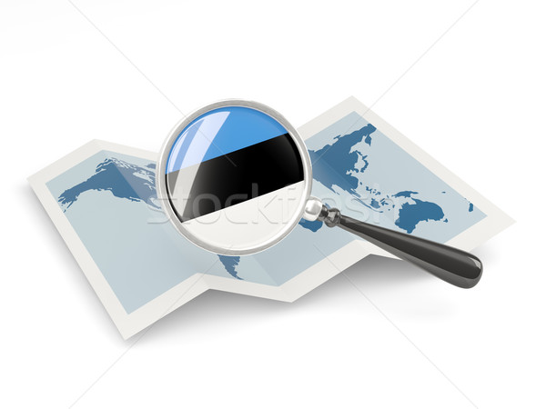 Vlag Estland kaart witte Stockfoto © MikhailMishchenko