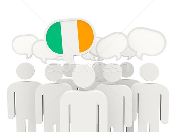 Mensen vlag Ierland geïsoleerd witte vergadering Stockfoto © MikhailMishchenko