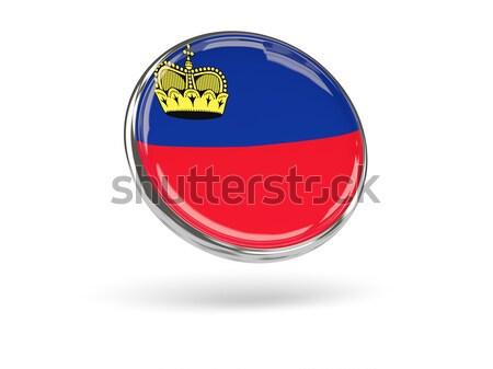 Pulsante bandiera Liechtenstein metal frame viaggio Foto d'archivio © MikhailMishchenko
