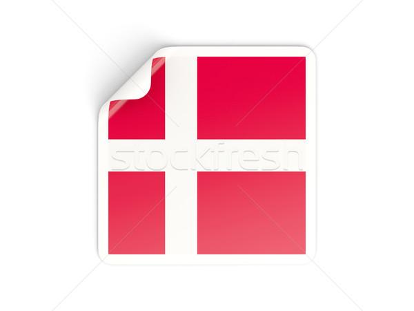Praça adesivo bandeira Dinamarca isolado branco Foto stock © MikhailMishchenko
