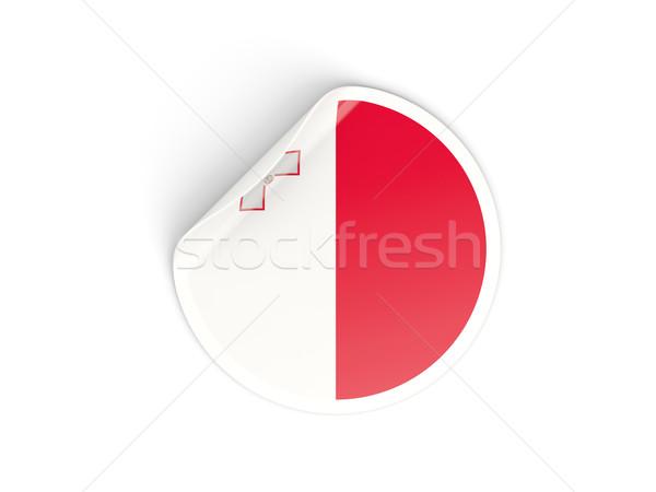 Sticker vlag Malta geïsoleerd witte reizen Stockfoto © MikhailMishchenko