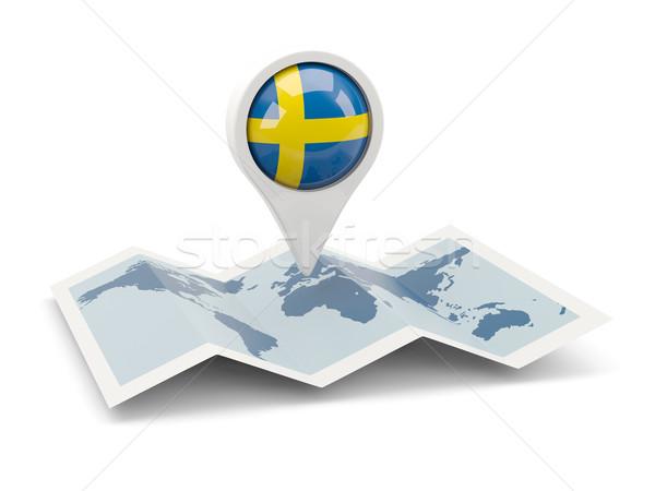 Pin bandeira Suécia mapa viajar branco Foto stock © MikhailMishchenko