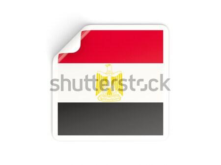 Banderą etykiety Egipt odizolowany biały podpisania Zdjęcia stock © MikhailMishchenko