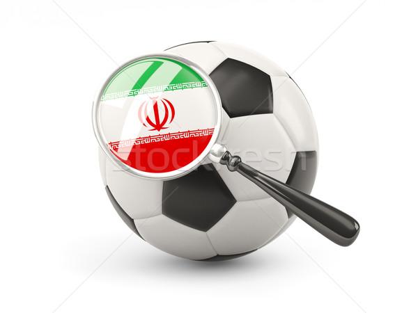 Futball nagyított zászló Irán izolált fehér Stock fotó © MikhailMishchenko