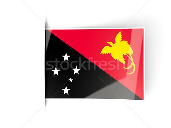 квадратный Label флаг Папуа-Новая Гвинея изолированный белый Сток-фото © MikhailMishchenko