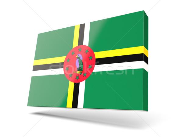квадратный икона флаг Доминика изолированный белый Сток-фото © MikhailMishchenko