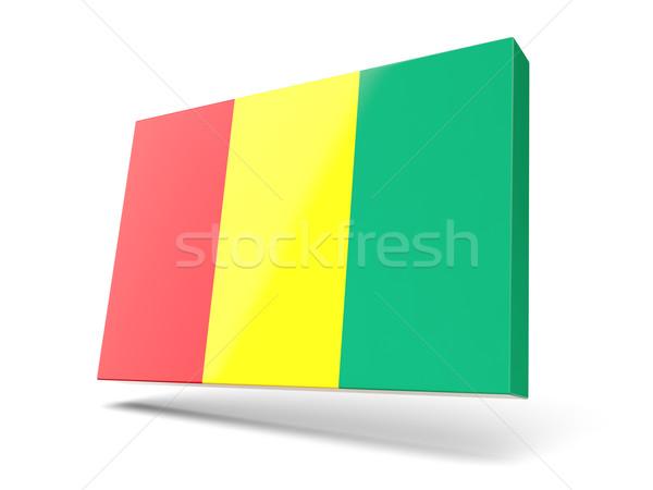 Vierkante icon vlag Guinea geïsoleerd witte Stockfoto © MikhailMishchenko
