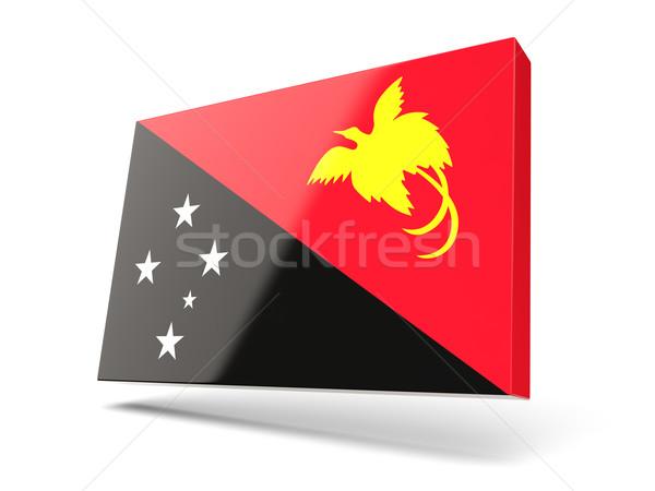 квадратный икона флаг Папуа-Новая Гвинея изолированный белый Сток-фото © MikhailMishchenko