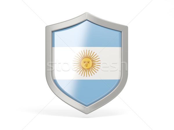Escudo ícone bandeira Argentina isolado branco Foto stock © MikhailMishchenko