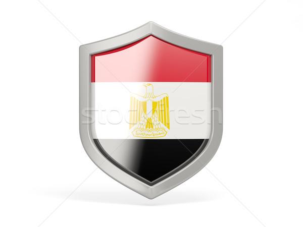 Tarcza ikona banderą Egipt odizolowany biały Zdjęcia stock © MikhailMishchenko