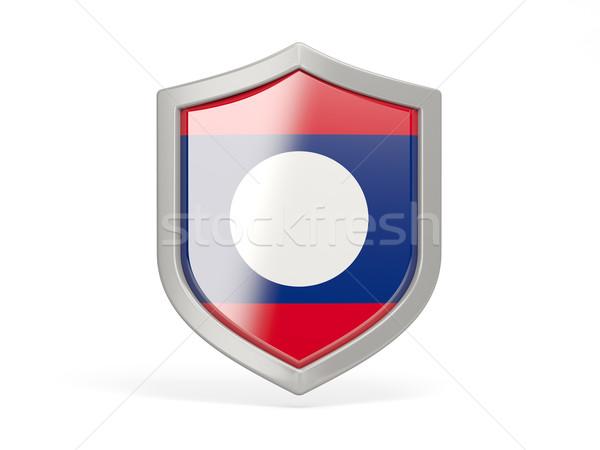 Tarcza ikona banderą Laos odizolowany biały Zdjęcia stock © MikhailMishchenko