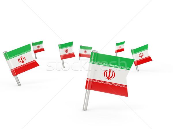 Tér zászló Irán izolált fehér vidék Stock fotó © MikhailMishchenko