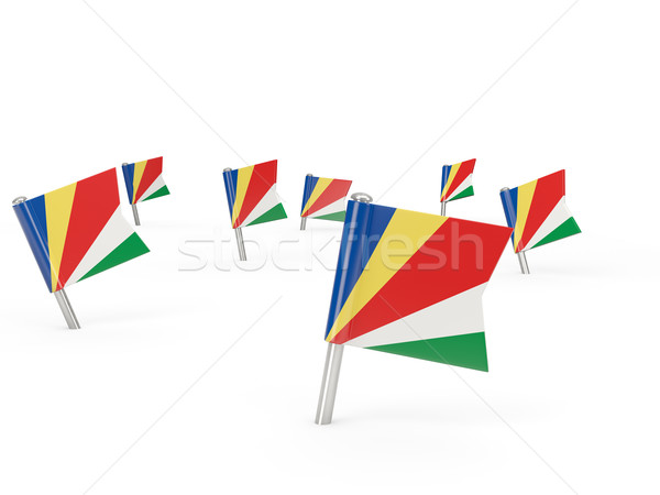 Square pins with flag of seychelles Stock photo © MikhailMishchenko