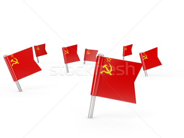 Kare bayrak sscb yalıtılmış beyaz ülke Stok fotoğraf © MikhailMishchenko
