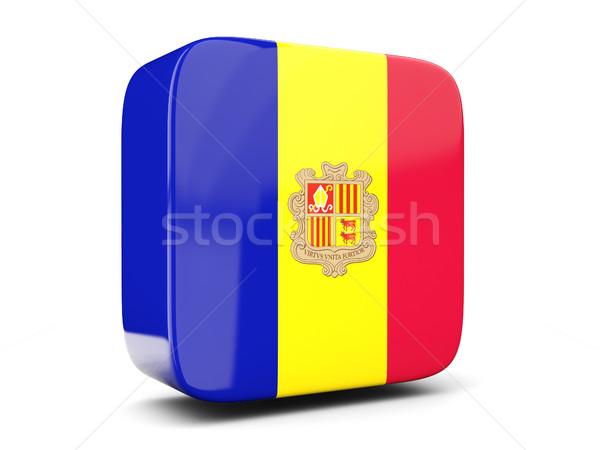 Vierkante icon vlag Andorra 3d illustration geïsoleerd Stockfoto © MikhailMishchenko