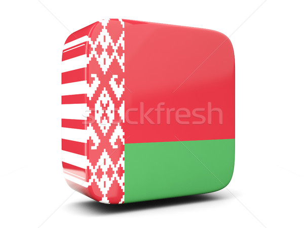 Square icon with flag of belarus square. 3D illustration Stock photo © MikhailMishchenko